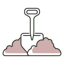 Shovel in dirt logo