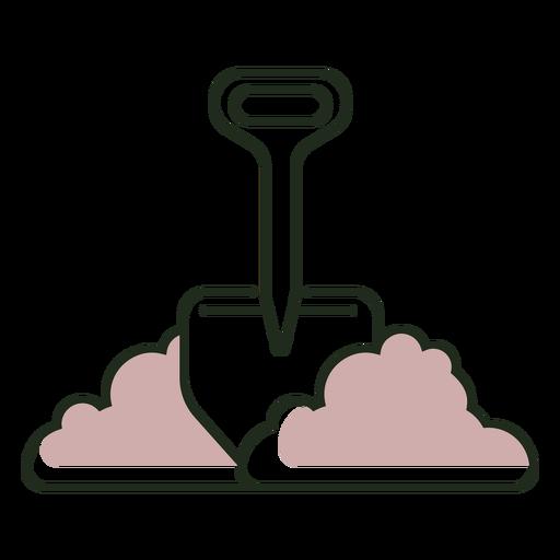 Shovel in dirt logo