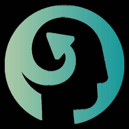 Flecha arremolinada en el logo de la cabeza