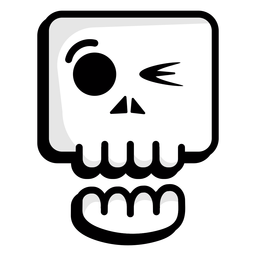 Winking skull illustration logo