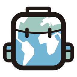 World map luggage logo