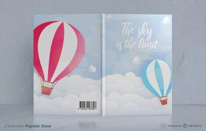 Design de capa de livro de balões de ar quente