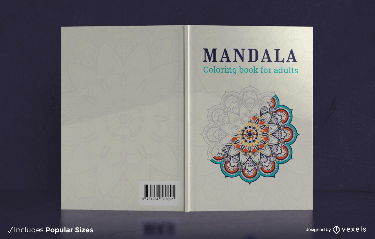 Design de capa de livro para colorir mandala