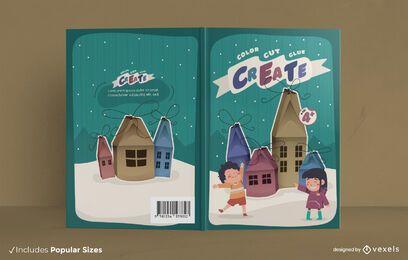 Design da capa do livro de atividades infantis