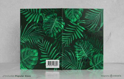 Design de capa de livro de folhas tropicais