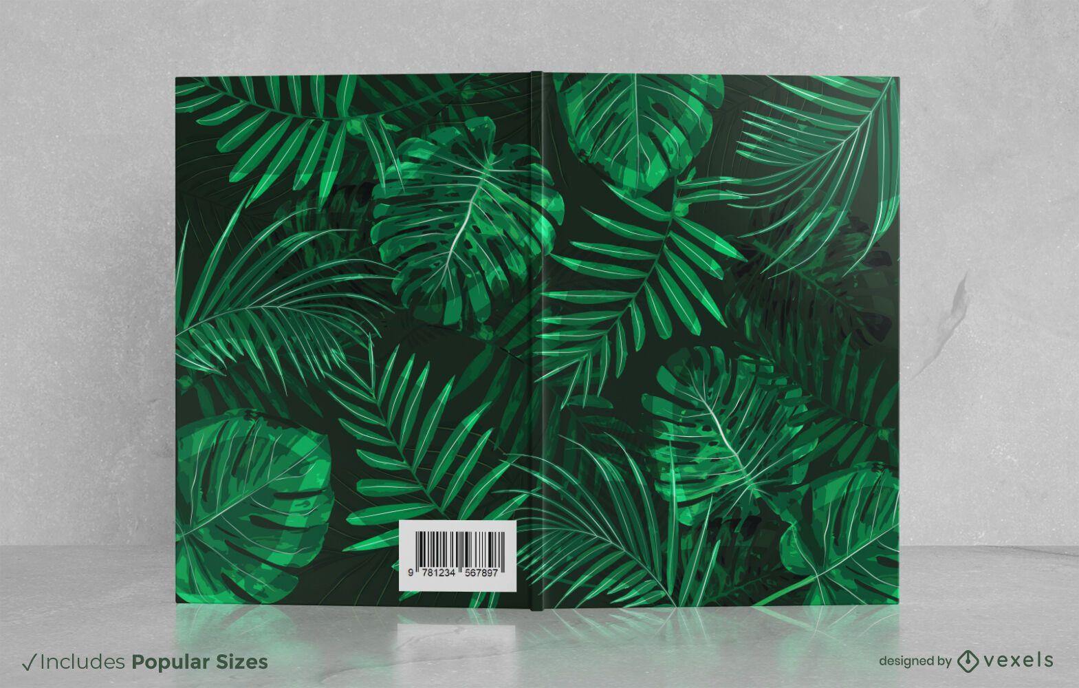 Dise?o de portada de libro de hojas tropicales