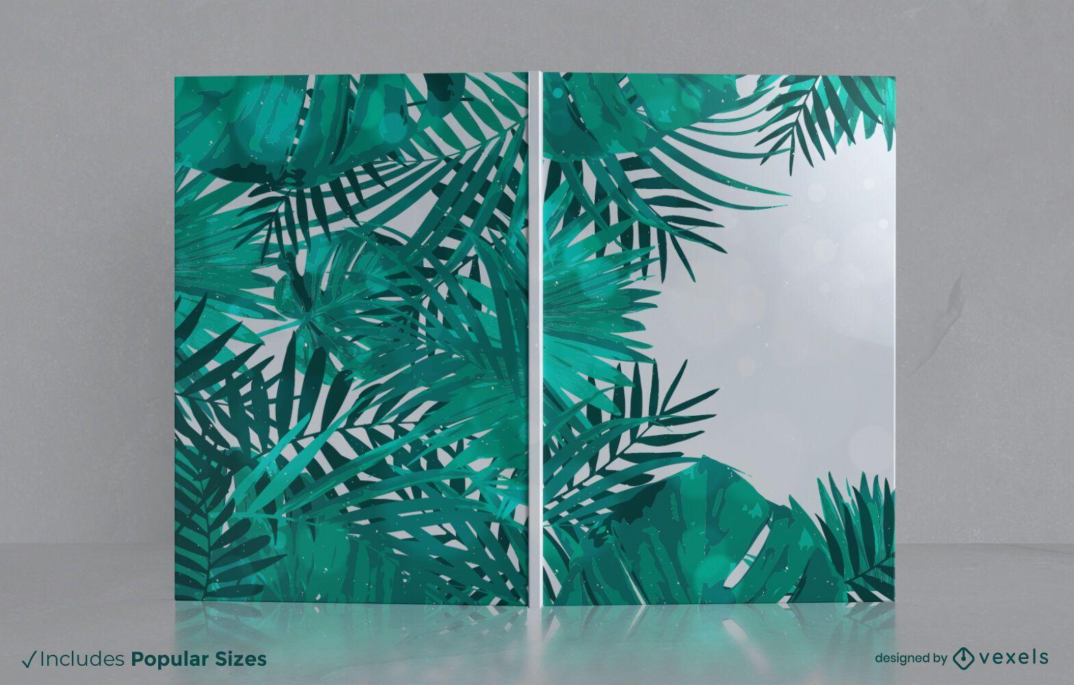 Dise?o de portada de libro de hojas de la selva