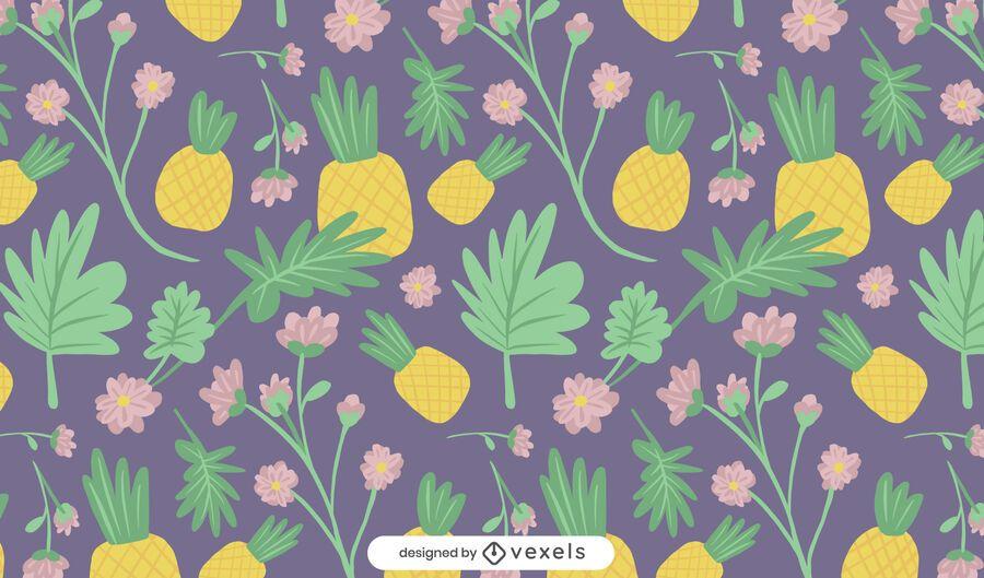 Desenho de padrão de abacaxi e flores
