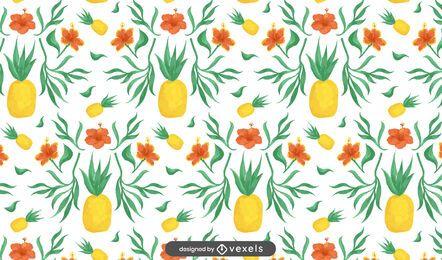 Desenho floral de abacaxi
