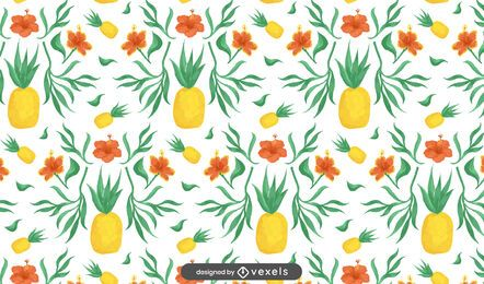 Floral pineapples pattern design