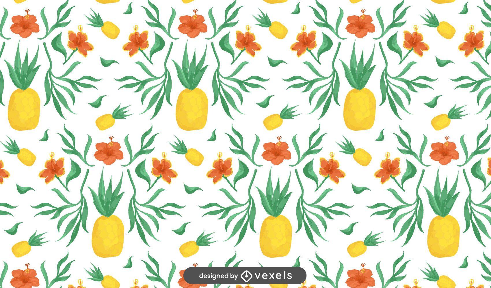 Floral pineapples pattern design