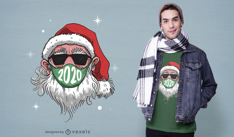 Design de t-shirt de máscara facial de Papai Noel