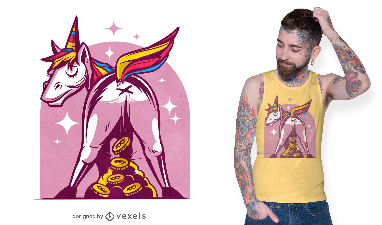 Diseño de camiseta de unicornio Bitcoin