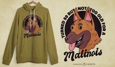 Diseño de camiseta de cumpleaños malinois