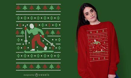 Design de camiseta de esqui de suéter feio