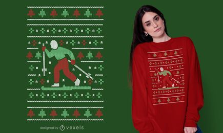 Ugly sweater skiing t-shirt design