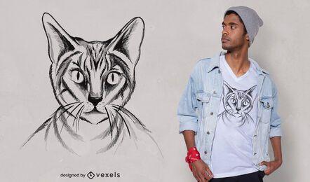 Desenho de t-shirt de gato desenhado à mão