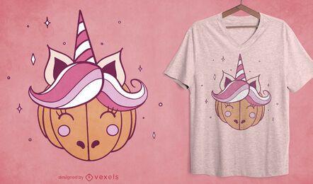 Diseño de camiseta de unicornio de calabaza