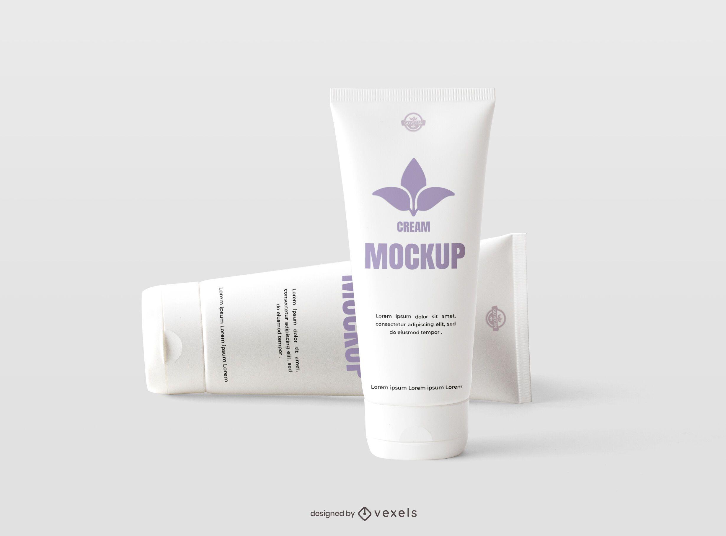 Tube cream mockup design set