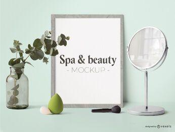 Composição de maquete de pôster de beleza e spa