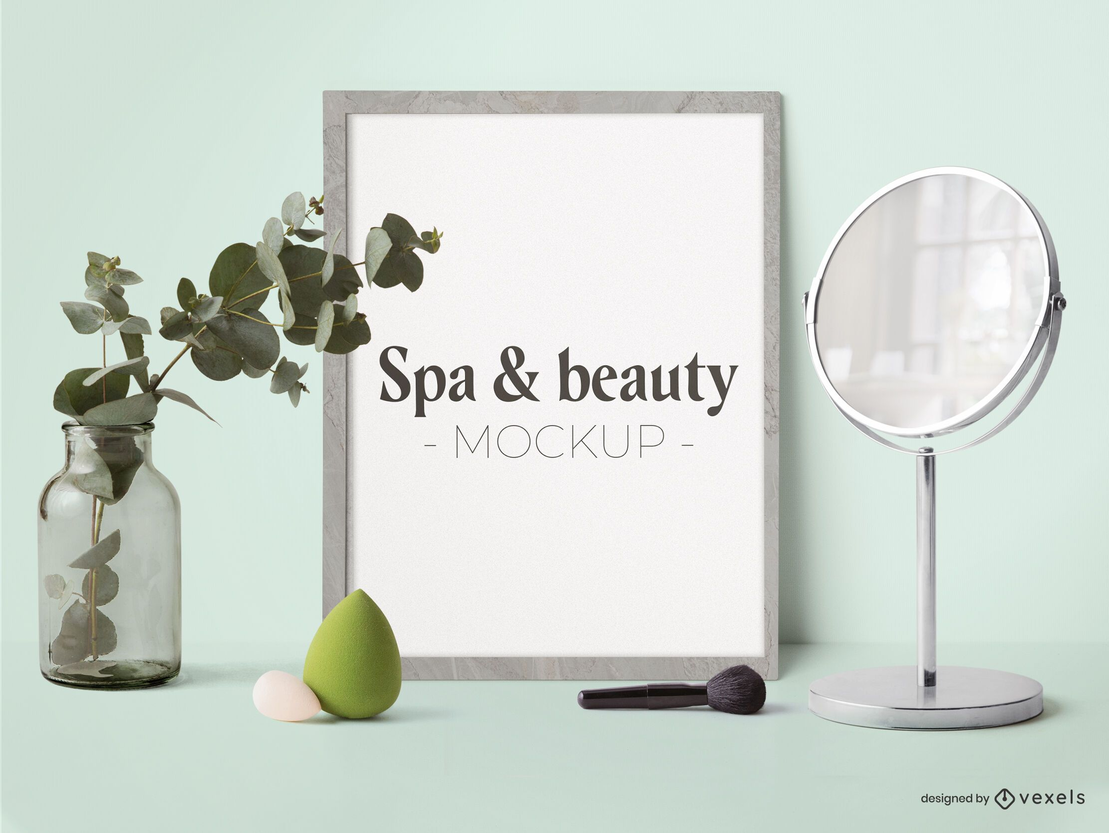 Spa & beauty poster mockup composition