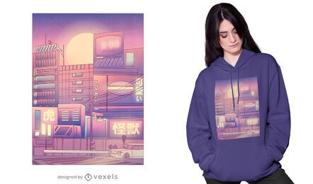 Vaporwave Stadt T-Shirt Design
