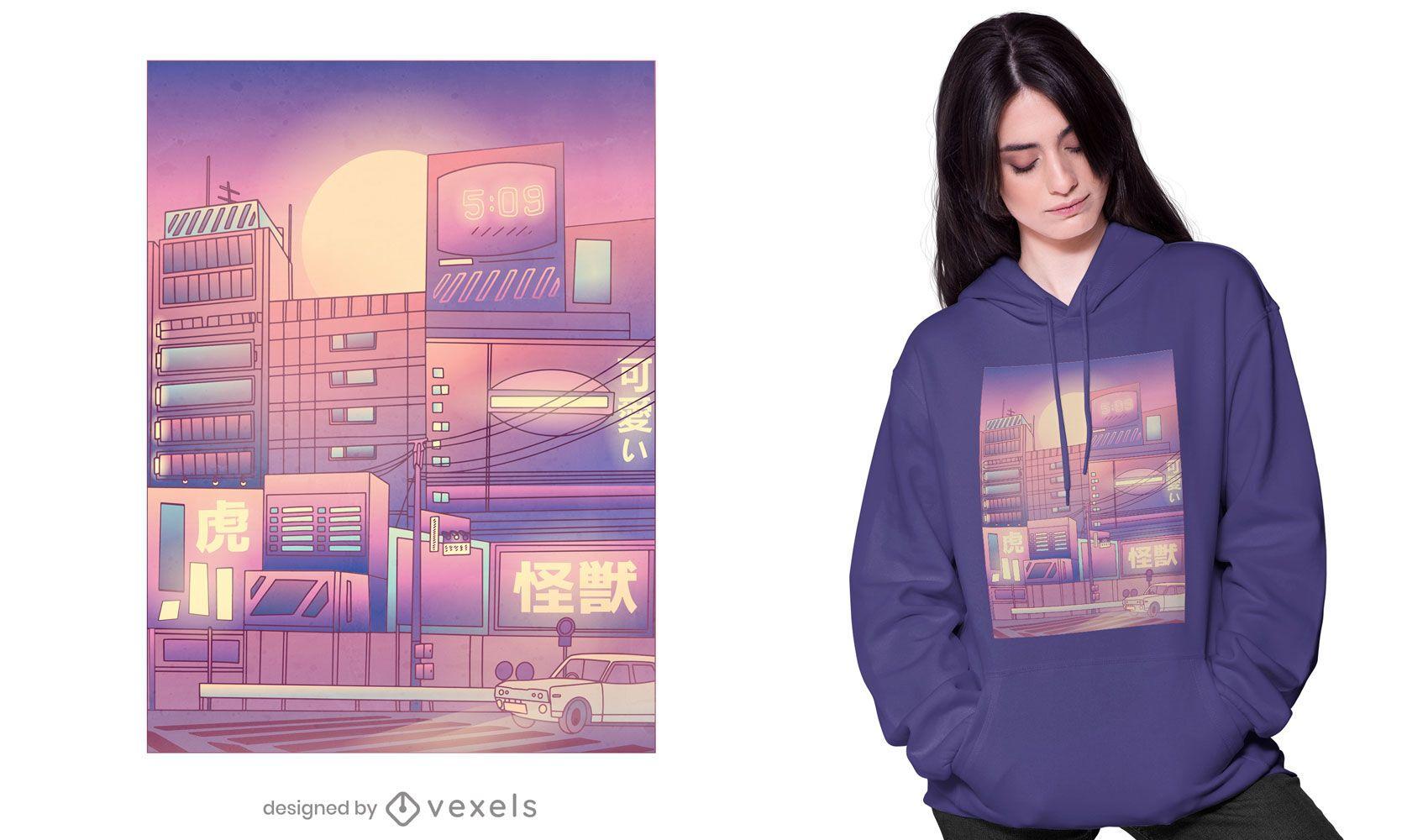 Vaporwave city t-shirt design
