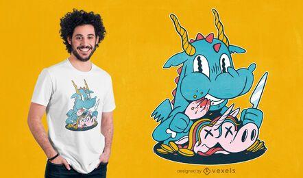 Diseño de camiseta de unicornio comiendo dragón