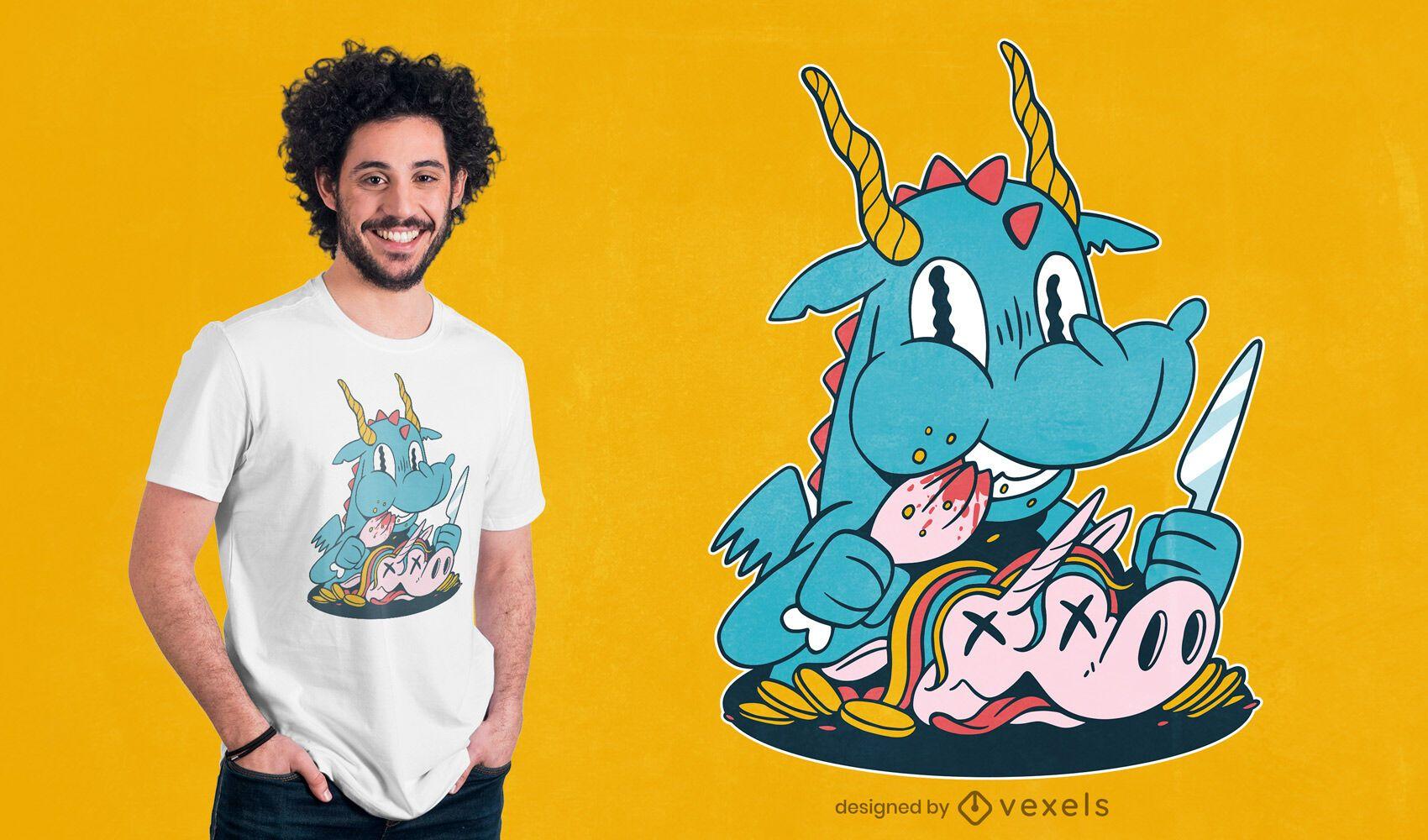Dragon eating unicorn t-shirt design