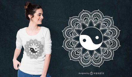 Diseño de camiseta mandala yin yang