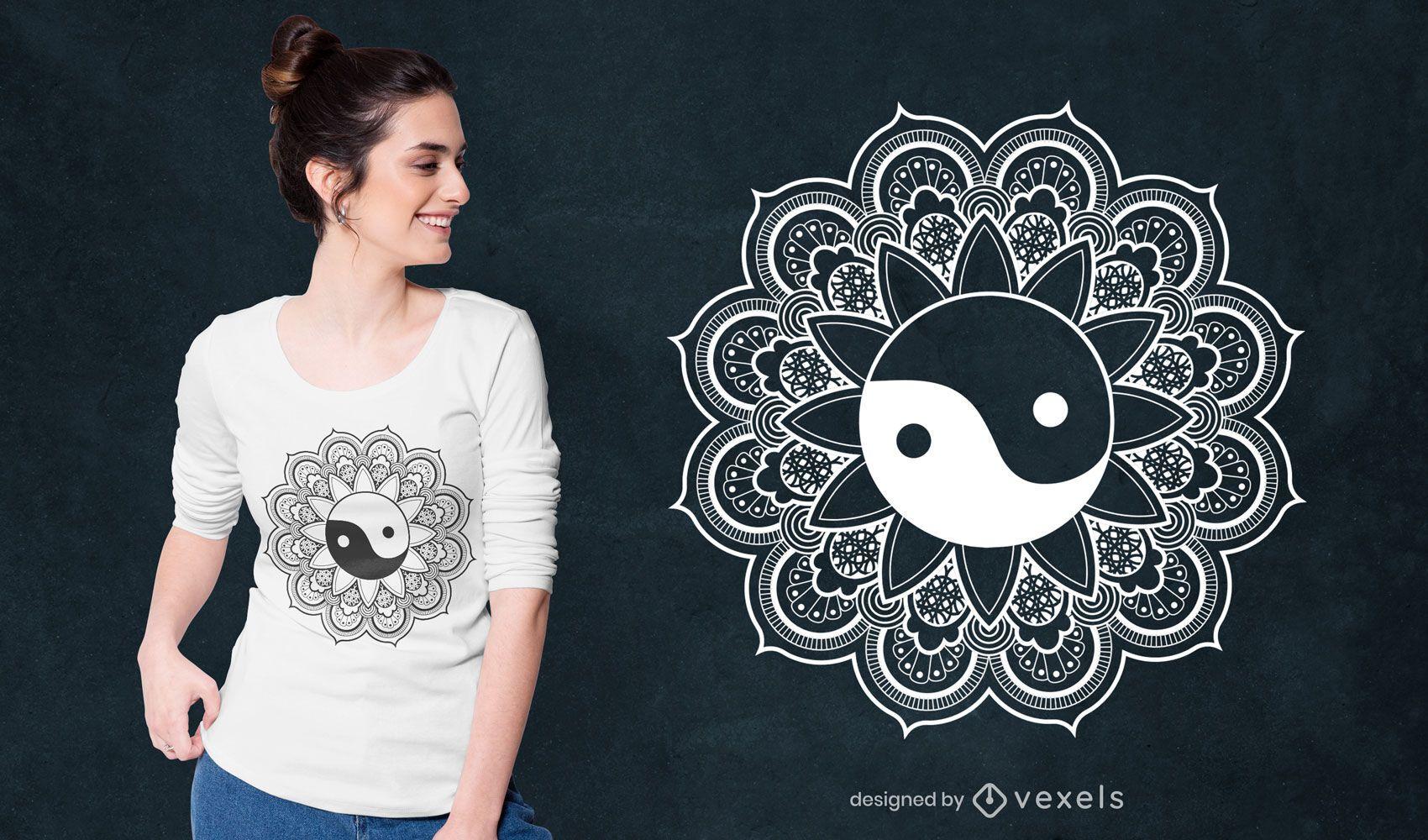 Dise?o de camiseta mandala yin yang