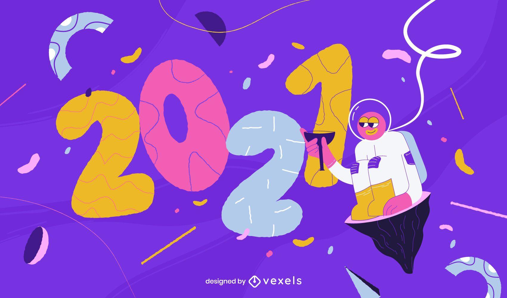 Ilustración de astronauta de año nuevo 2021