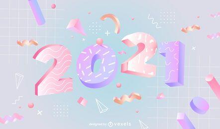 Ilustração 3d do ano novo de 2021