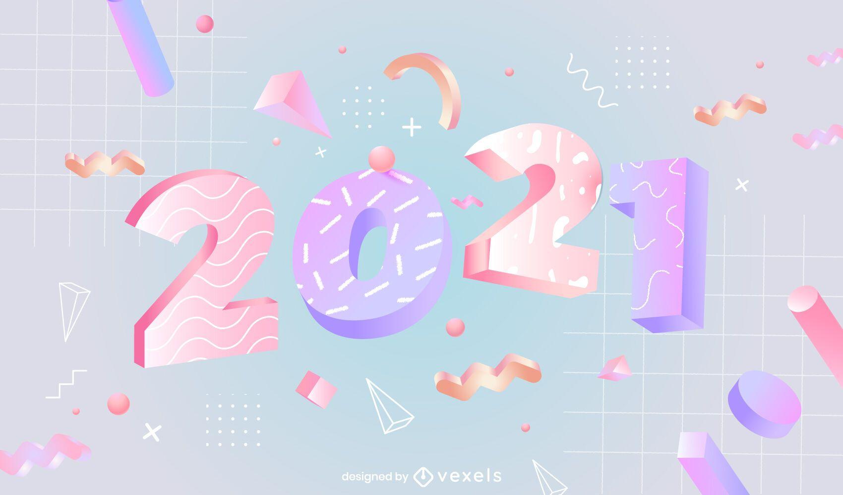 Ilustración 3d de año nuevo 2021