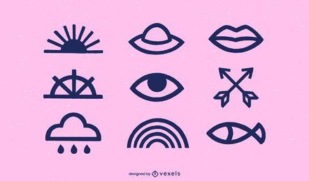 Conjunto de ícones de traço mínimo