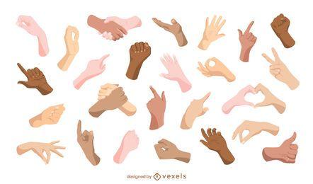 Coleção de gestos manuais