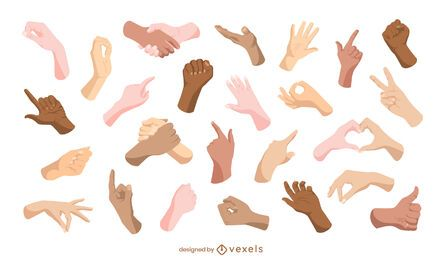 Colección de gestos con las manos