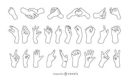 Colección de trazos de gestos con las manos