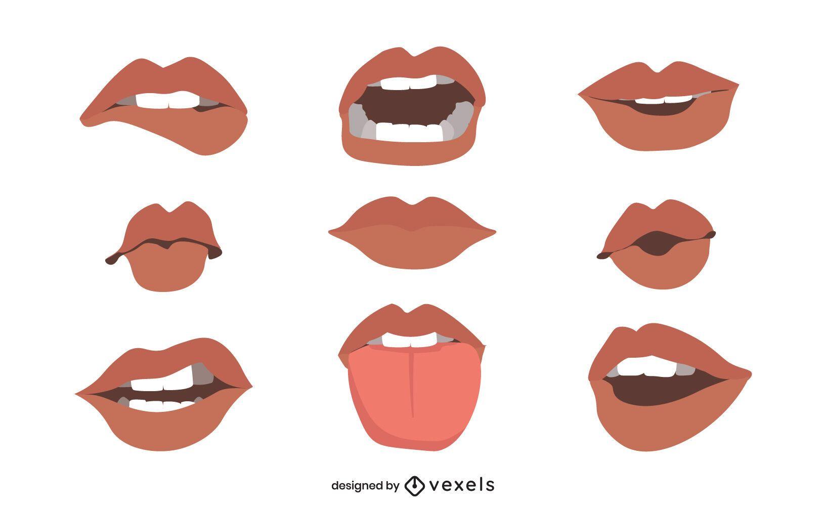 Conjunto de ilustración de bocas