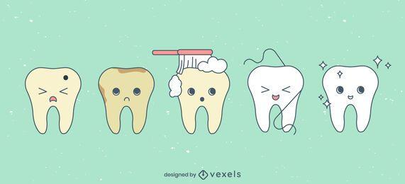 Conjunto de desenho de dentes bonitos