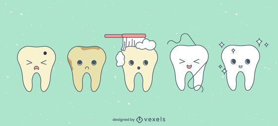 Cute teeth cartoon set