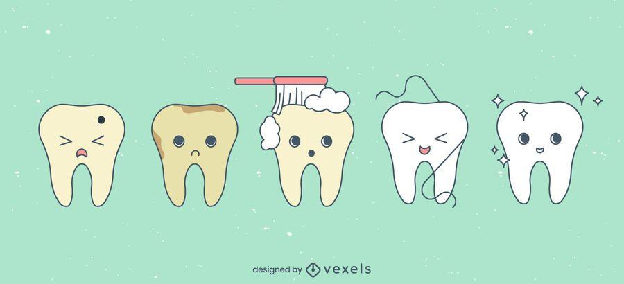 Cute teeth cartoon set
