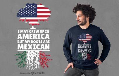 Diseño de camiseta de raíces mexicanas.