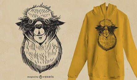 Design de t-shirt de alpaca assustador