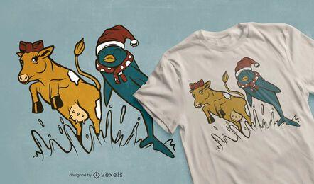 Diseño de camiseta de delfines y vacas.