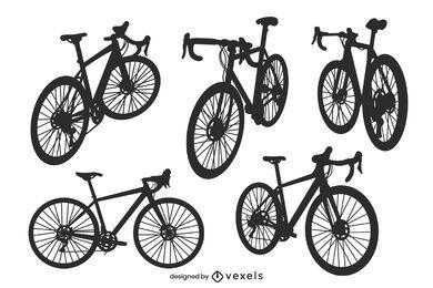 Conjunto de silueta de bicicleta de montaña