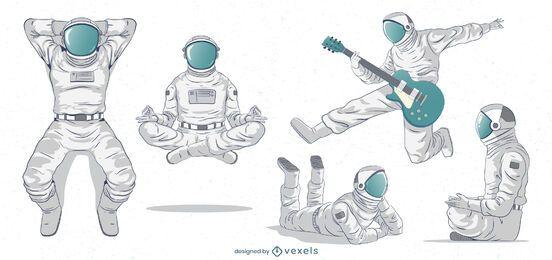Conjunto de caracteres de astronautas fantásticos