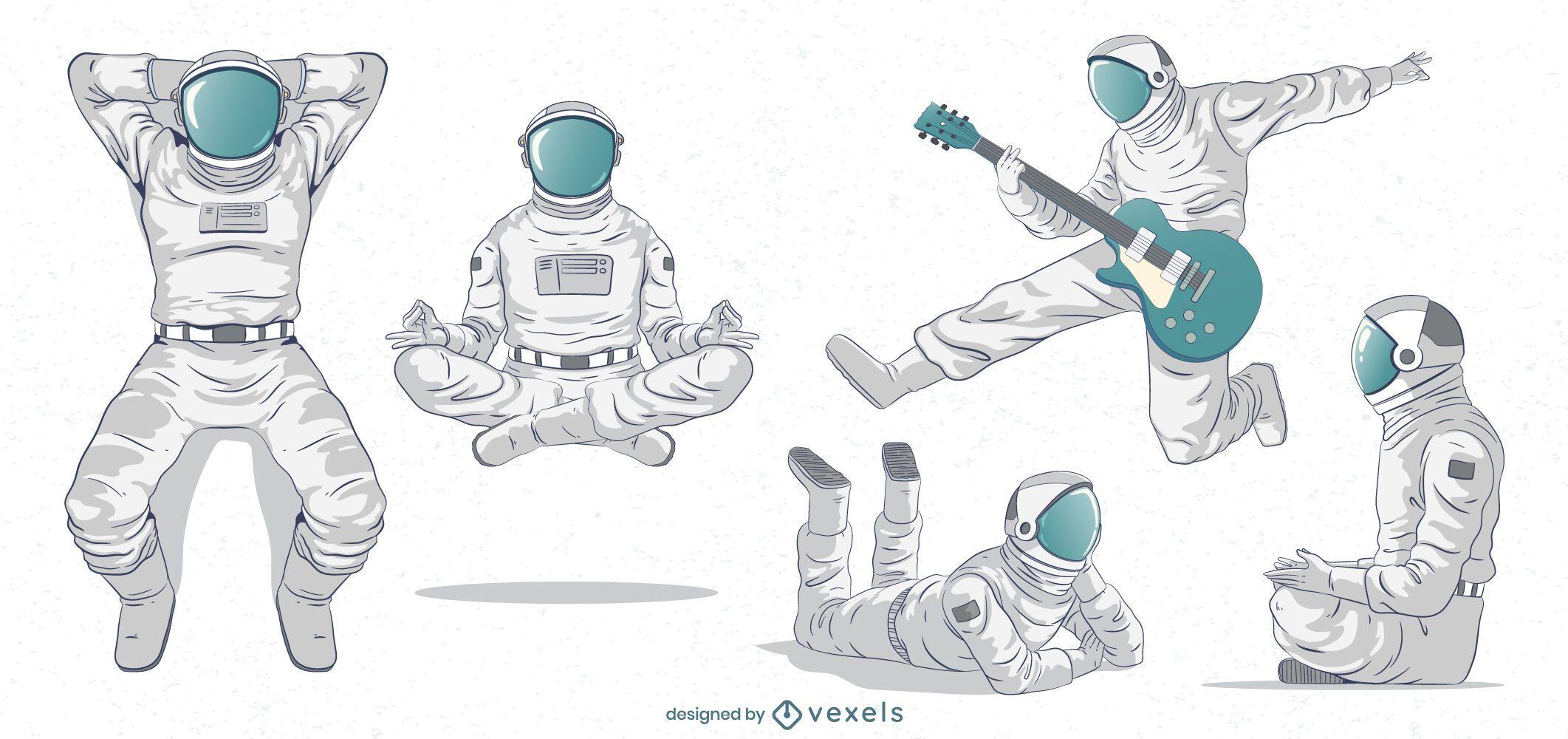 Conjunto de caracteres de astronautas geniales