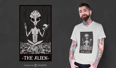 Das Alien-Karten-T-Shirt-Design