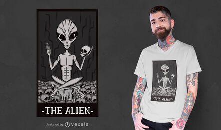 El diseño de la camiseta de la tarjeta alienígena.